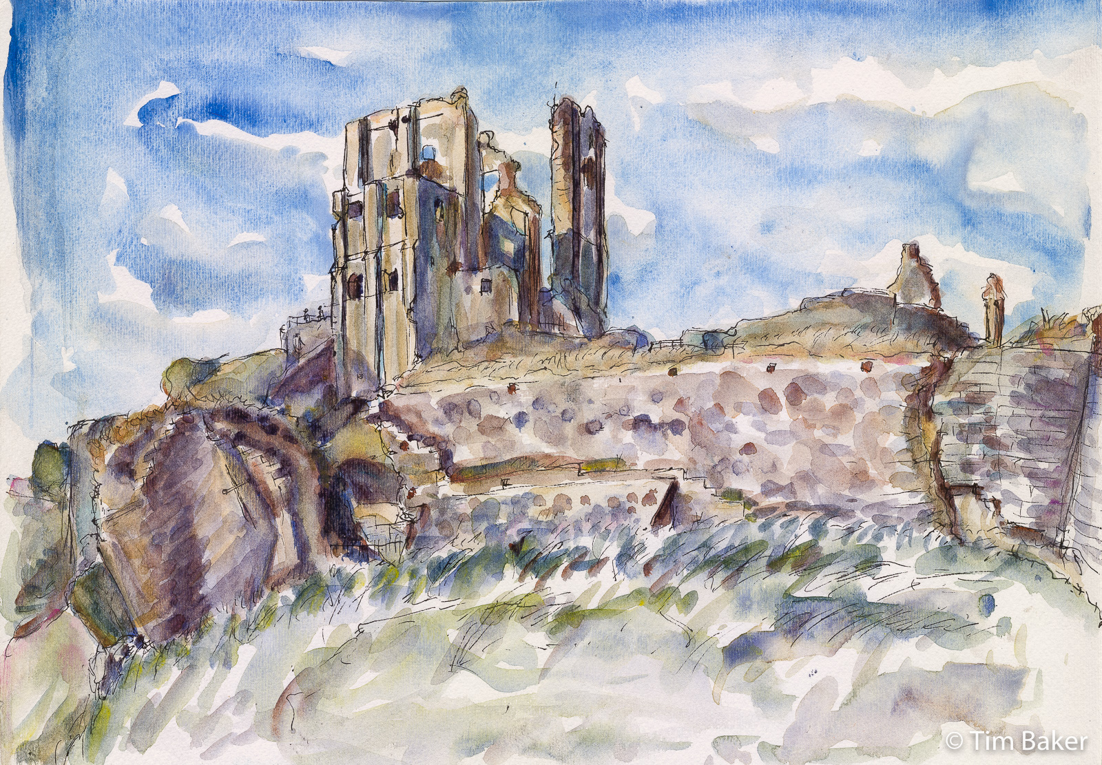 2021-Jurassic-Coast-Weymouth-to-Swanage-Corfe-Castle-Tea-Room-Watercolour-1-Pano.jpg