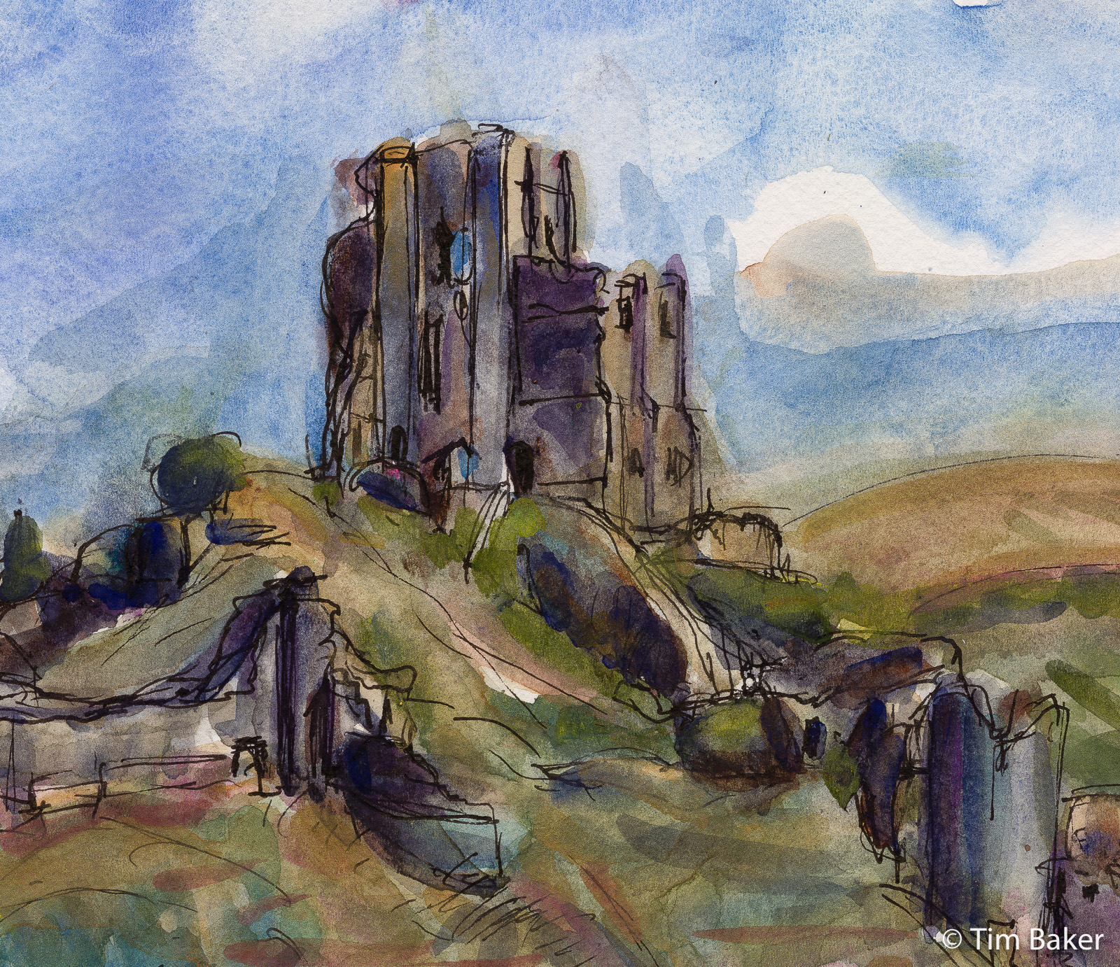 2021-Jurassic-Coast-Weymouth-to-Swanage-Rooks-And-Peregrines-Corfe-Castle-Watercolour-1-Pano-2.jpg